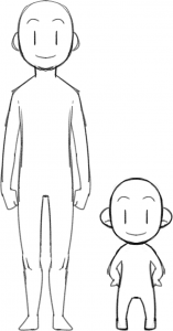 頭身が高い(左)とスタンプの大きさに納めるのが難しいので注意@LINEスタンプクリエイター養成講座